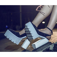 Platform Fashion Women Pointed Toe Sandals High Heels Shoes