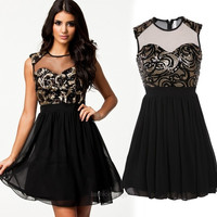 New Women's Sexy Mesh Splicing Dress Sequins Padded Chiffon Party Casual Dress Ball Gown F_F = 1904632836