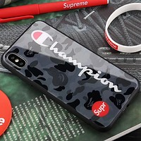 Champion & SUPREMECamouflage High Quality iPhone x Tempered Glass Phone Case Fashion Anti-Dropshell Camouflage Black