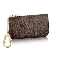 LV Louis Vuitton Monogram Canvas PU Small Coin Purse Key Pouch