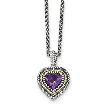Sterling Silver w/14k Amethyst Heart Necklace QTC1268