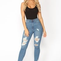 Don't Cha Wish Ankle Jeans - Medium Blue Wash