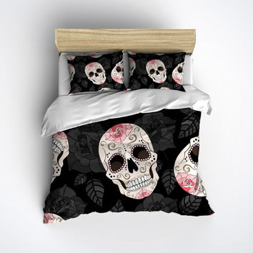 Fleece Sugar Skull Bedding, Skull Bed Linens with beautiful Pink Roses! - Sugar Skull Bed Linen, Sugar Skull Bedding Set