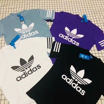 ADIDAS Sleeve Three Line Women Men Tee Shirt Top B-AA-XDD Four Color