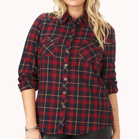 Edgy Spiked Plaid Shirt