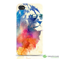 """iPhone 4 and iPhone 4s case / cover / shell- """"Sunny Leo""""  Wrap around Tough Case. Lion multicolour"""