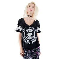 Nugoth Football jersey Top FELINE CLUB V Neck VARSITY Black Tee