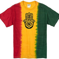 Yoga Clothing for You Mens Black Hamsa Rasta Tee Shirt