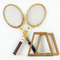 Vintage Wooden Tennis Rackets with Covers