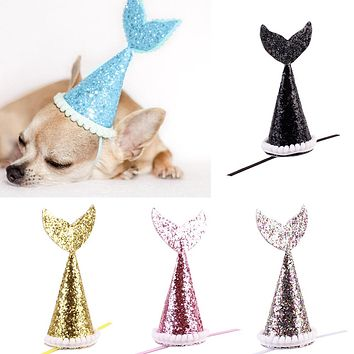 1Pc Cute Pet Dog Cat Headwear Shiny Sequin Crown Hair Mermaid Tail Decoration