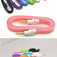 New Colorful 3.5mm Stereo Auxiliary Cable Male to Male Flat Audio Music Aux Cord [9791285647]