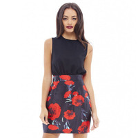 Women's Trending Popular Fashion Floral Printed Long Round Necked Sleeveless Casual Party Playsuit Clubwear Bodycon Boho Dress _ 5974