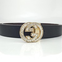 GUCCI Vintage Simple Diamond Double G Buckle Belt