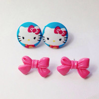 Handmade Hello Kitty Blue and Pink Fabric Earrings and Rosy Pink Tie Bow Set