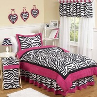 Hot Pink, Black & White Funky Zebra Childrens and Teen 3 Piece Full / Queen Girls Bedding Set