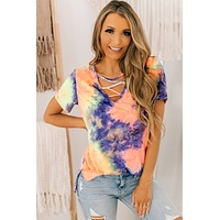 Radiance Within Tie Dye Top (Coral Purple)