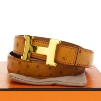 Auth HERMES Constance H Buckle Belt Ostrich Leather Brown Gold-tone #65 39EG226