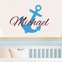 Wall Decals Custom Name Decal Personalized Name Children Nautical Anchor Underwater Nursery Baby Boys Kids Initial Gift Monogram Wall Vinyl Decal Sticker Bedroom Murals