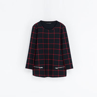 CHECKED TOP WITH ZIPS - Shirts - Woman | ZARA United States