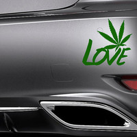 LOVE Weed Sticker Cannabis Pot Decal Wall Decor Mural Weed Sticker 420 Decal Bong Hippy Stoner Decal Wall Art Removable 6n/15cm