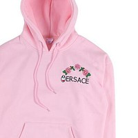 Versace x Champion flower rose print sweater hoodie pullover top