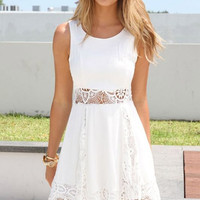 Cupshe Baby My Love Solid White Lace Hem Dress