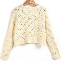 Apricot Long Sleeve Hollow Crop Knit Sweater - Sheinside.com