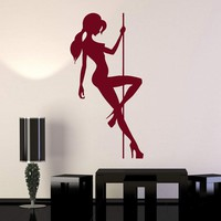 Wall Stickers Vinyl Decal Sexy Naked Girl Pole Dance Striptease Unique Gift (ig470)
