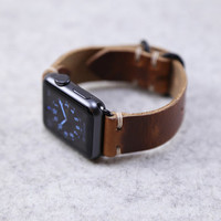 Apple Watch Band: Horween Leather Strap in English Tan Dublin, Apple Watch Adapters, Loop Hardware