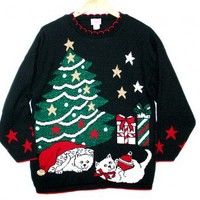 Kitty Cats Vintage 80s Acrylic Tacky Ugly Christmas Sweater Women's Size Medium/Large (M/L) $50 - The Ugly Sweater Shop