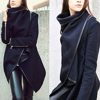 Leshery Fashion Womens Slim Wool Warm Long Coat Jacket Trench Windbreaker Parka Outwear (XXL)