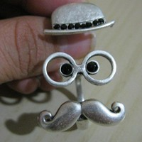 FUNNY Hat and Mustache Double Ring -Stylish Silver pl. Ring-Adjustable