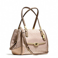 MADISON SMALL MADELINE EAST/WEST SATCHEL IN OP ART PEARLESCENT FABRIC