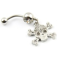 316L Stainless Steel 14G Clear Crystal Skull And Cross Bones Punk Goth Navel Ring Belly Bar Stud Ball Barbell Body Piercing Kit