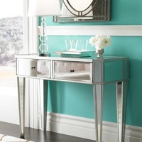 """Powell Furniture Mirrored Console with """"Silver"""" Wood Item#: 233-225"""