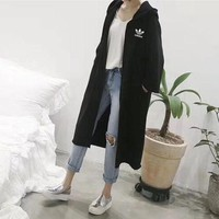 DCCKXT7 Adidas' Women Simple Casual Solid Color Loose Long Section Long Sleeve Cardigan Hooded Sweater Windbreaker Coat