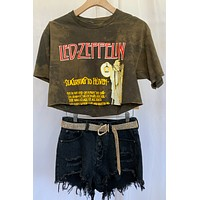 Vintage Cropped Led Zeppelin Tee