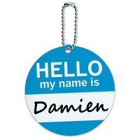 Damien Hello My Name Is Round ID Card Luggage Tag