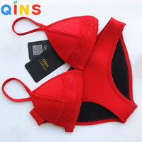 QINS 2016 Summer bathing suit Women's Bikini Sexy Swimsuit Set Bathsuit Swimwear Push Up High Quality Neoprene Material Bikinis