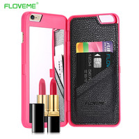 Floveme Stylish Chic With Mirror Case for iPhone 6 /6s for iPhone 6 Plus /6s Plus with Card Holders Luxury Hard Flip Women Cover
