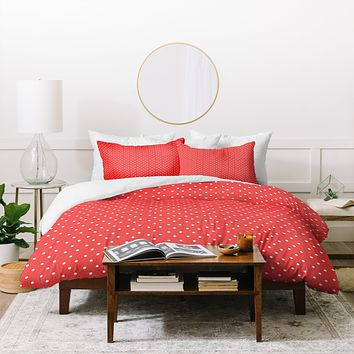 Allyson Johnson Red Dots Duvet Cover