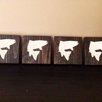 Fish Silhouette Wood Coasters, Custom Fish Coasters, Set of 4, Stained and Hand Painted, Fishing decor, cabin decor, wildlife decor