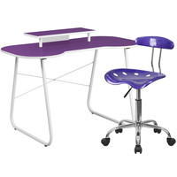 Purple Computer Desk with Monitor Stand and Tractor Chair