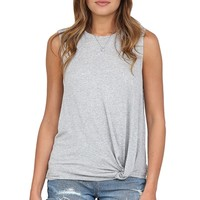 Grey Side Knot Muscle Tank at Blush Boutique Miami - ShopBlush.com : Blush Boutique Miami – ShopBlush.com
