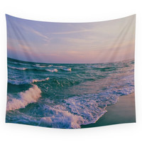 Society6 Sunset Crashing Waves Wall Tapestry