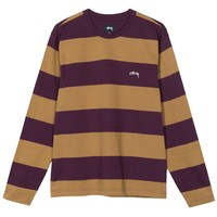 Bold Stripe LS Crew in Purple