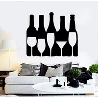 Vinyl Wall Decal Wine Alcohol Bottle Bar Drink Glass Stickers Unique Gift (ig4551)