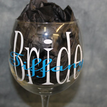 """Personalized """" Bride"""" Champagne Glass with Name & Date"""