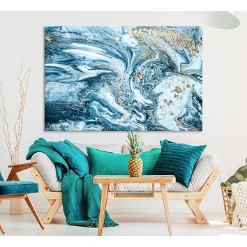 Large Gold Marble Wall Art Abstract Canvas Print