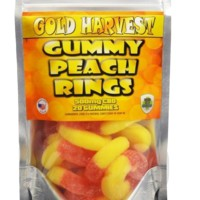 Gold Harvest CBD Gummy Peach Rings. 20 Count / 500mg total